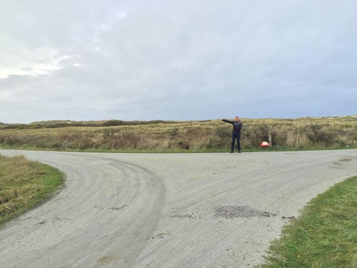 Het 18KM punt, het einde van het fietspad op Terschelling