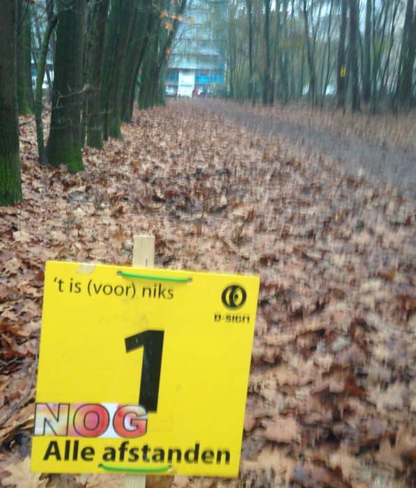 Nog 1 kilometer - u verlaat het bos...