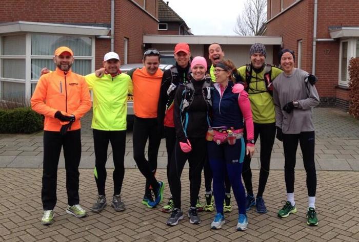 De runners klaar voor actie: vlnr: Hero, Rene, Pascal, Ruben, Jolanda, RR, Wendelien, Marco en Henny