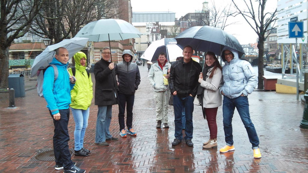 De finishplek van de Leiden Marathon - Foto: Dick