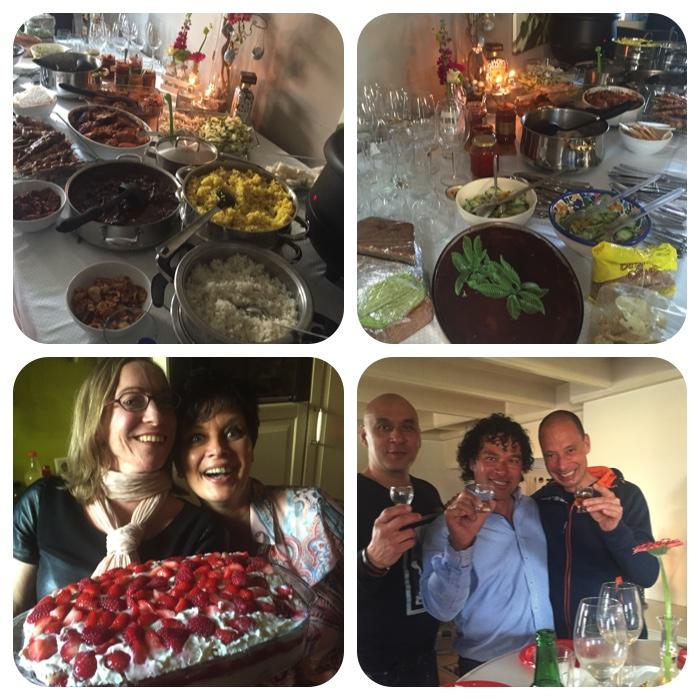 heerlijk eten en lekker smikkelen. Op de foto mijn lief, mijn zus en mijn neven Walter en Frans