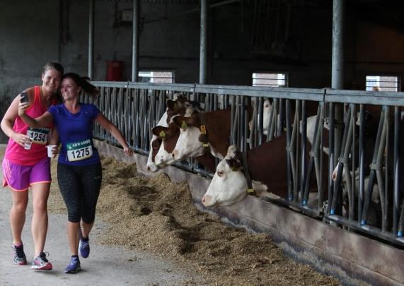 Mijn foto in de koeienstal is niet gelukt maar dit is een veel leukere 'selfie in progress' - Foto: organisatie Marathon Winterswijk