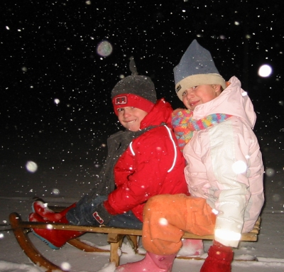 Wouter en Michelle in de sneeuw