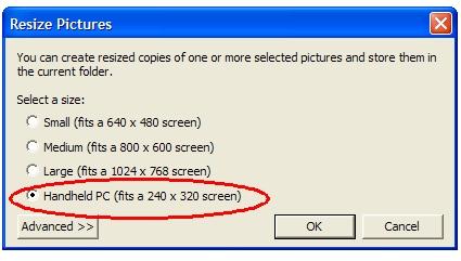 Kies de nieuwe grootte van je foto's
