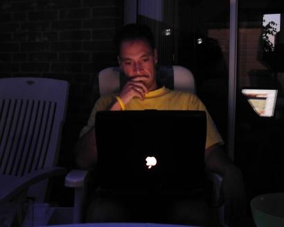 Lekker in de tuin met mijn Powerbook