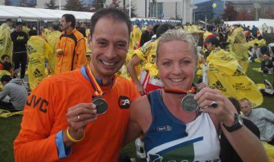 Hieke en RR, Finishers van de Berlin Marathon