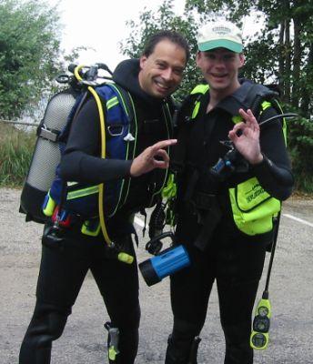 Frank en RR in duikpak