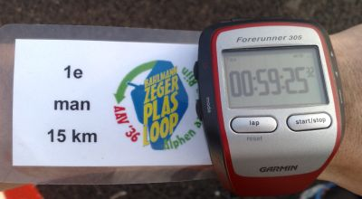 1e plek, 15km, sub 60 min