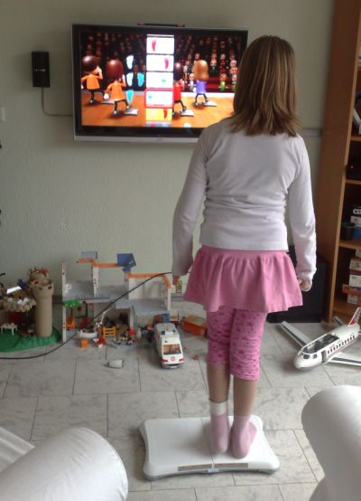 Michelle op de Wii-fit
